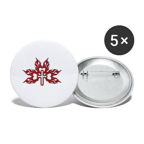 Cross with flaming hearts 01 - Buttons small 1''/25 mm (5-pack)