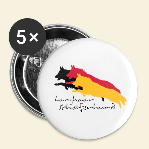 Langhaar schäferhund - Buttons klein 25 mm (5er Pack)