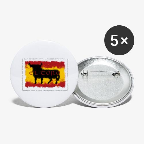 Spain Flag with bull - Buttons klein 25 mm (5er Pack)