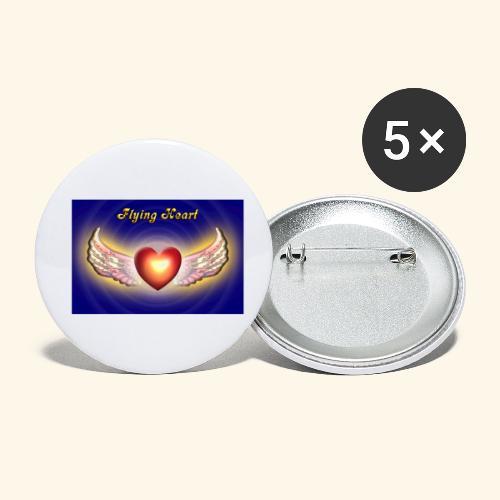 Flying Heart - Buttons klein 25 mm (5er Pack)