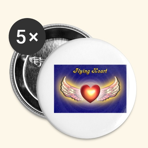 Flying Heart - Buttons klein 25 mm (5er Pack)