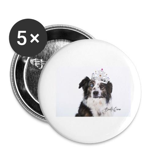 Beaty Queen mit Pelz - Buttons klein 25 mm (5er Pack)