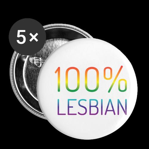 100% Lesbian in regenboog kleuren - Buttons klein 25 mm