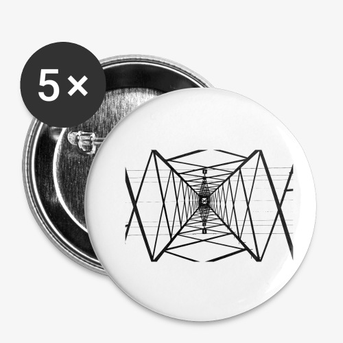Quermast V2 Schwarz - Buttons klein 25 mm (5er Pack)