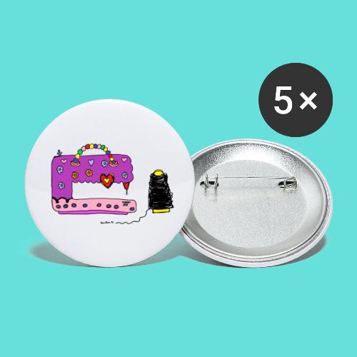 Machine à coudre - Lot de 5 petits badges (25 mm)
