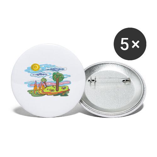 Paysage fantastique - Lot de 5 petits badges (25 mm)