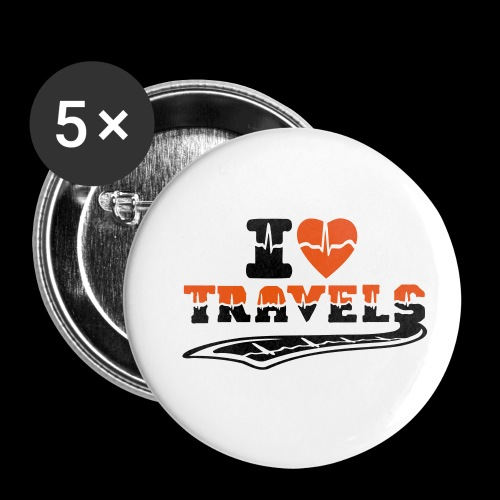 i love travels surprises 2 col - Buttons small 1''/25 mm (5-pack)