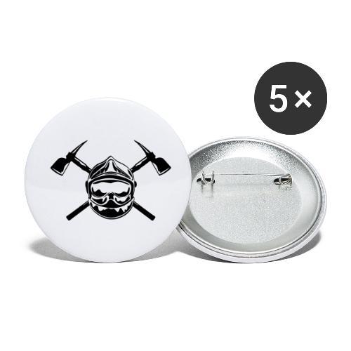 casque_pompier_2 haches - Lot de 5 petits badges (25 mm)