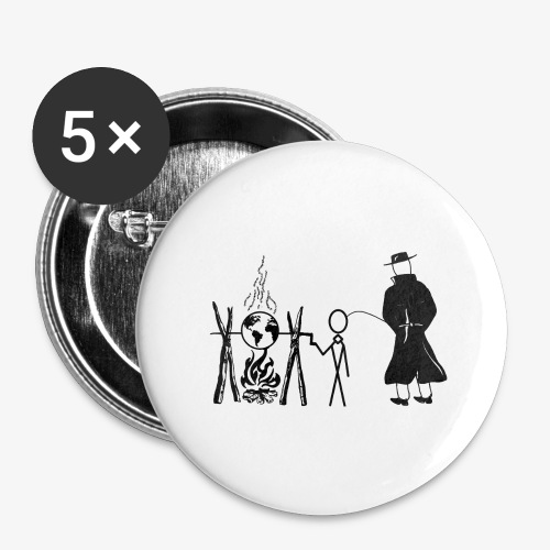 Pissing Man against human self-destruction - Buttons klein 25 mm (5er Pack)