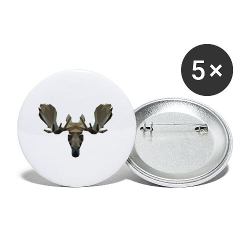 Low Poly Moosehead - Buttons klein 25 mm (5-pack)
