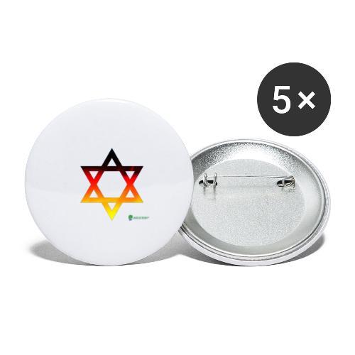 deutschland davidstern transparent - Buttons klein 25 mm (5er Pack)