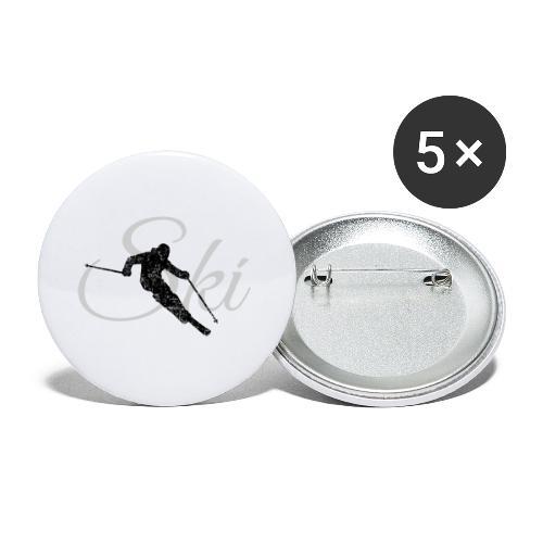 Ski Skifahren, Skifahrer - Buttons klein 25 mm (5er Pack)