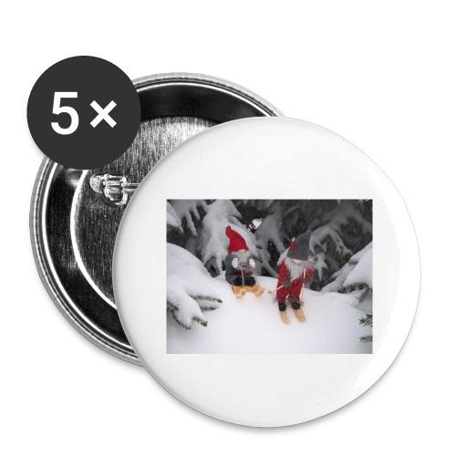 Joulutontut kilpasilla - Rintamerkit pienet 25 mm (5kpl pakkauksessa)