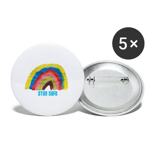 Stay Safe Rainbow Tshirt - Buttons small 1''/25 mm (5-pack)