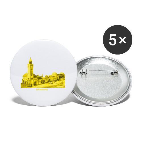 Hamburg Hansestadt Landungsbrücke Fischmarkt Hafen - Buttons klein 25 mm (5er Pack)