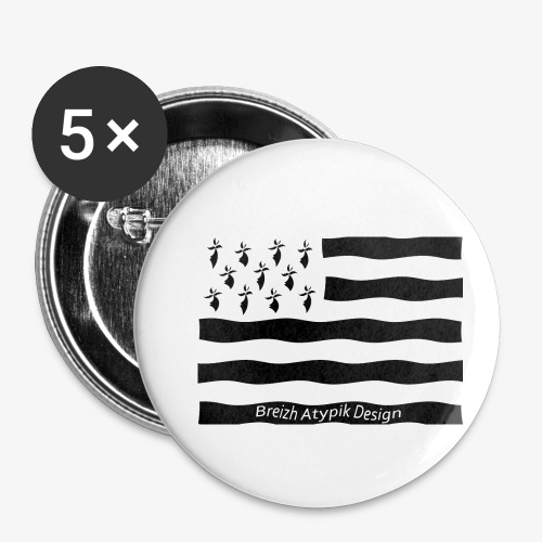 Gwenn ha Du B W - Lot de 5 petits badges (25 mm)