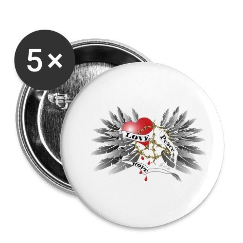 Love, Peace and Hope - Liebe, Frieden, Hoffnung - Buttons klein 25 mm (5er Pack)