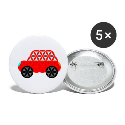 The Car Of Life - M01, Sacred Shapes, Red/R01. - Buttons small 1''/25 mm (5-pack)