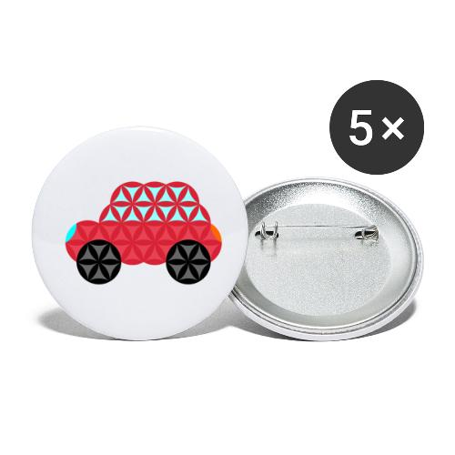 The Car Of Life - M02, Sacred Shapes, Red/186 - Buttons small 1''/25 mm (5-pack)