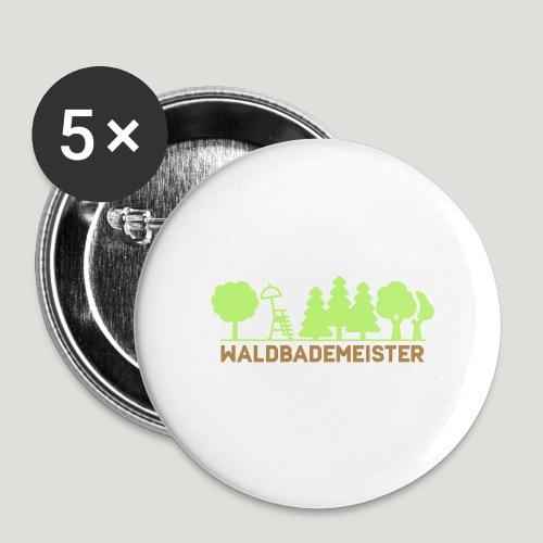 Waldbademeister fürs Waldbaden und Waldbad - Buttons klein 25 mm (5er Pack)
