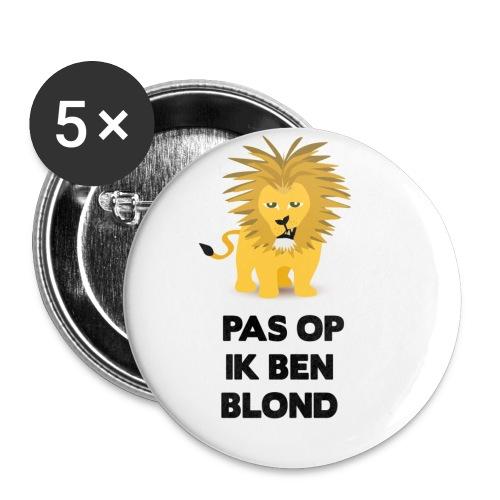 Pas op ik ben blond een cartoon van blonde leeuw - Buttons klein 25 mm (5-pack)