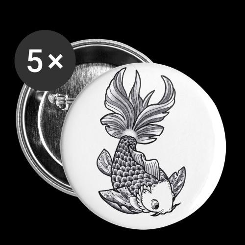 Pesce Tattoo Flash - Confezione da 5 spille piccole (25 mm)