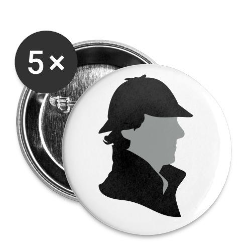 Sherlock Holmes Funny Hat - Buttons klein 25 mm (5er Pack)