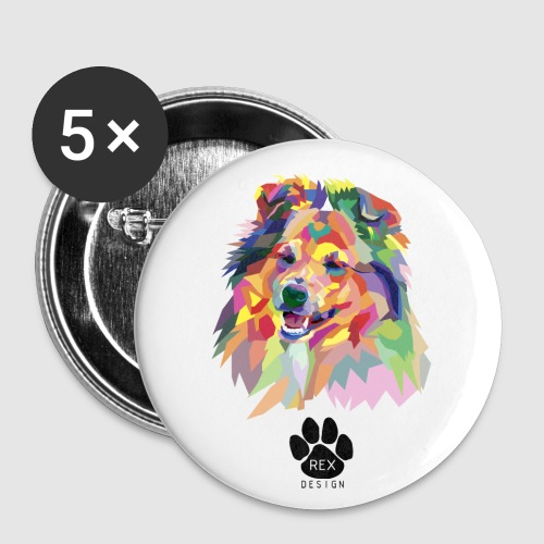Happy Little Sheltie - Buttons small 1''/25 mm (5-pack)