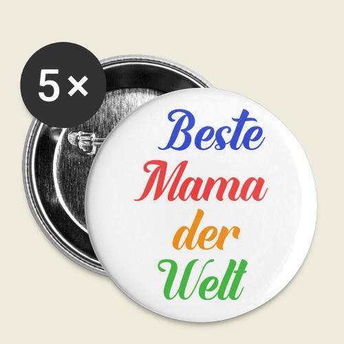 Beste Mama der Welt schön bunt - Buttons klein 25 mm (5er Pack)