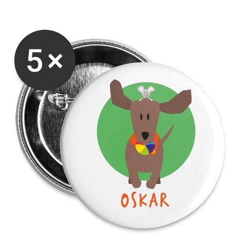 Dackel Oskar mit Maus Fridolin - Buttons klein 25 mm (5er Pack)