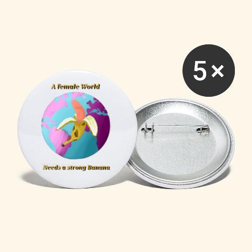 Banane vor Weltkugel - Buttons small 1''/25 mm (5-pack)