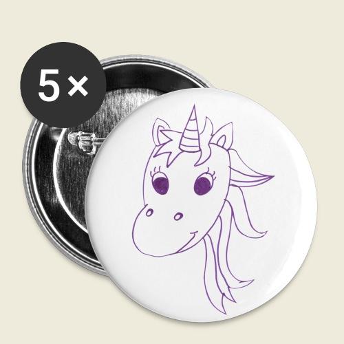 Einhorn Unicorna einfarbig weiß lila - Buttons klein 25 mm (5er Pack)