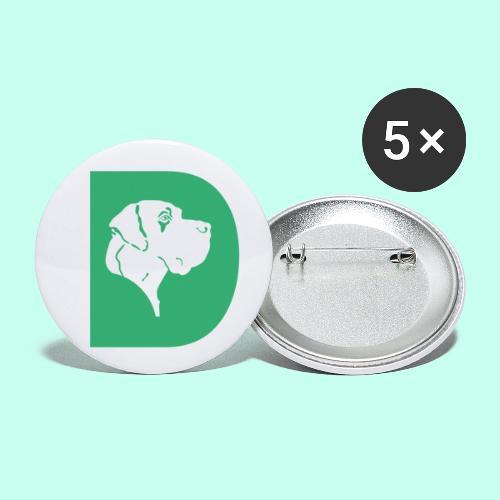 Doggen D - Buttons klein 25 mm (5er Pack)