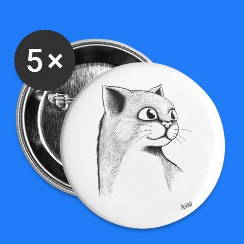 CAT HEAD by AGILL - Lot de 5 petits badges (25 mm)