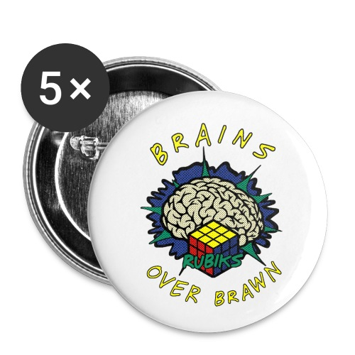 Rubik's Cube Brains Over Brawn - Buttons small 1''/25 mm (5-pack)