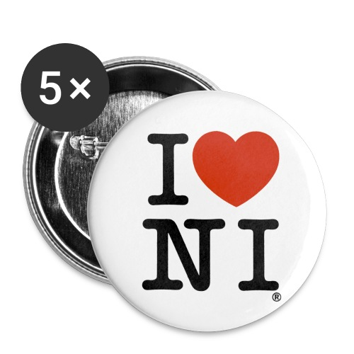 I heart NI - Buttons small 1''/25 mm (5-pack)