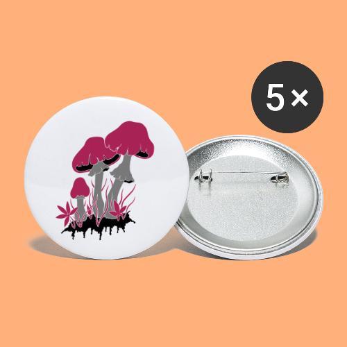 champignons - Lot de 5 petits badges (25 mm)