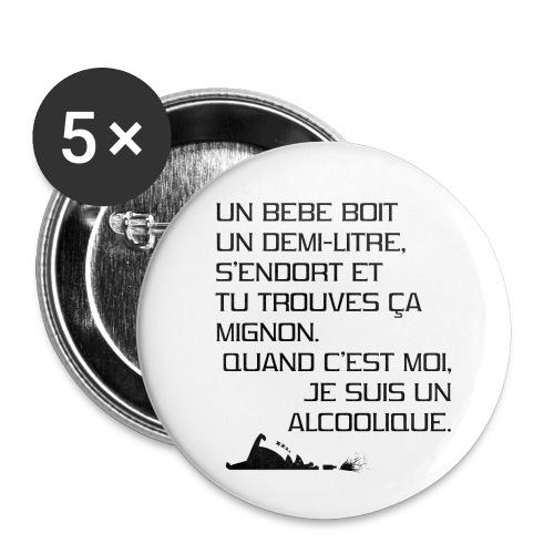 Alcoolique - Lot de 5 petits badges (25 mm)