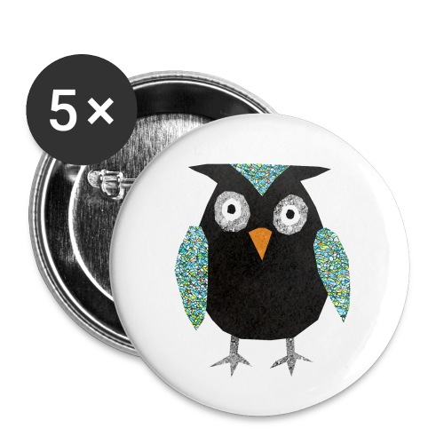 Collage mosaic owl - Buttons small 1''/25 mm (5-pack)