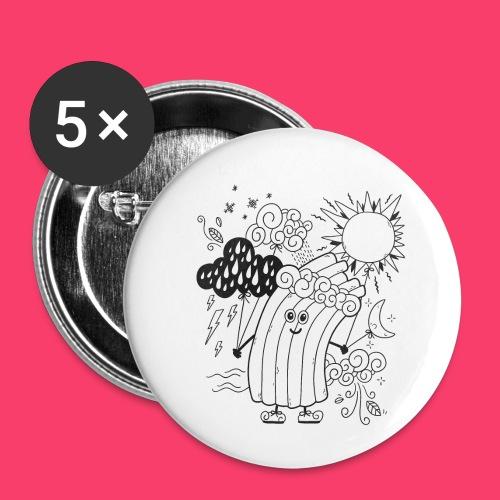 Rudi Regenbogen Wetter-Motiv zum Ausmalen - Buttons klein 25 mm (5er Pack)