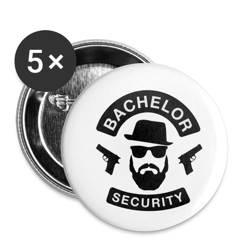 Bachelor Security - JGA T-Shirt - Bräutigam Shirt - Buttons klein 25 mm (5er Pack)
