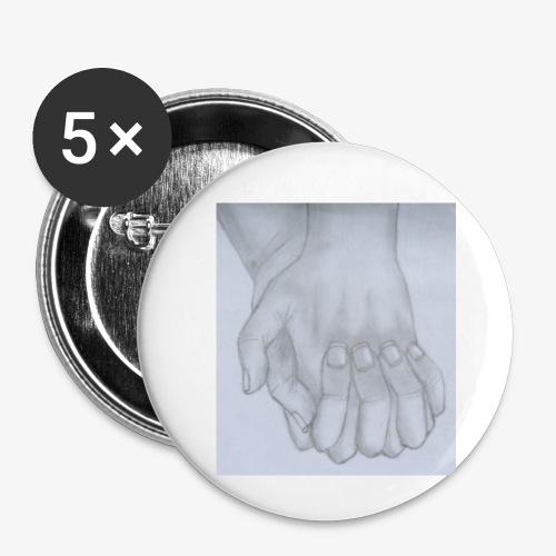 main dans la main - Lot de 5 petits badges (25 mm)