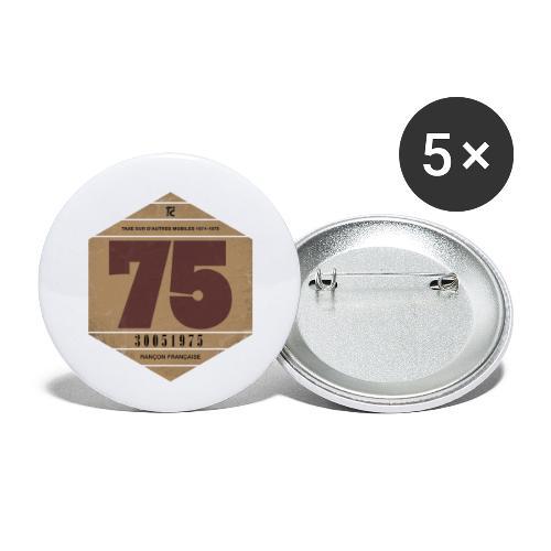Vignette automobile 1975 - Lot de 5 petits badges (25 mm)