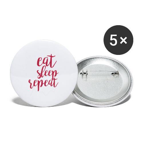 eat sleep repeat - Paquete de 5 chapas pequeñas (25 mm)