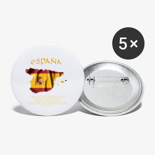 Spanische Flagge - Buttons klein 25 mm (5er Pack)
