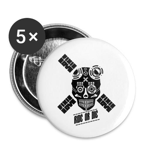 skull riding ride or die - Lot de 5 petits badges (25 mm)