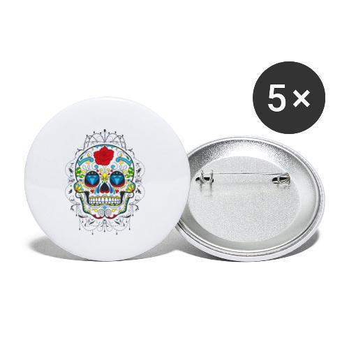 Rose und Diamantschädel - Buttons klein 25 mm (5er Pack)