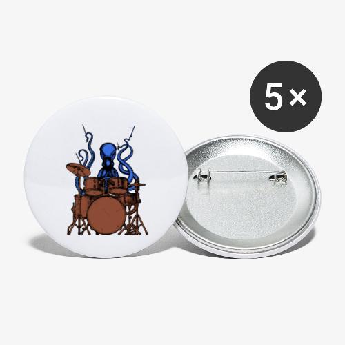 Oktopus spielt Schlagzeug - Buttons klein 25 mm (5er Pack)