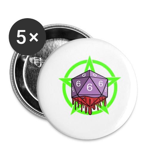 Würfel RPG Spiel Rollenspiele 666 mit Pentagramm - Buttons klein 25 mm (5er Pack)