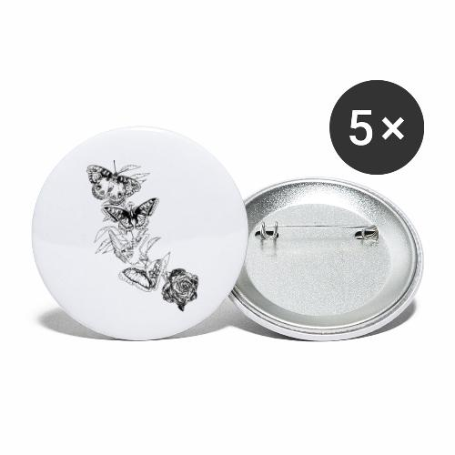 Black and White Butterflies and Rose - Confezione da 5 spille piccole (25 mm)